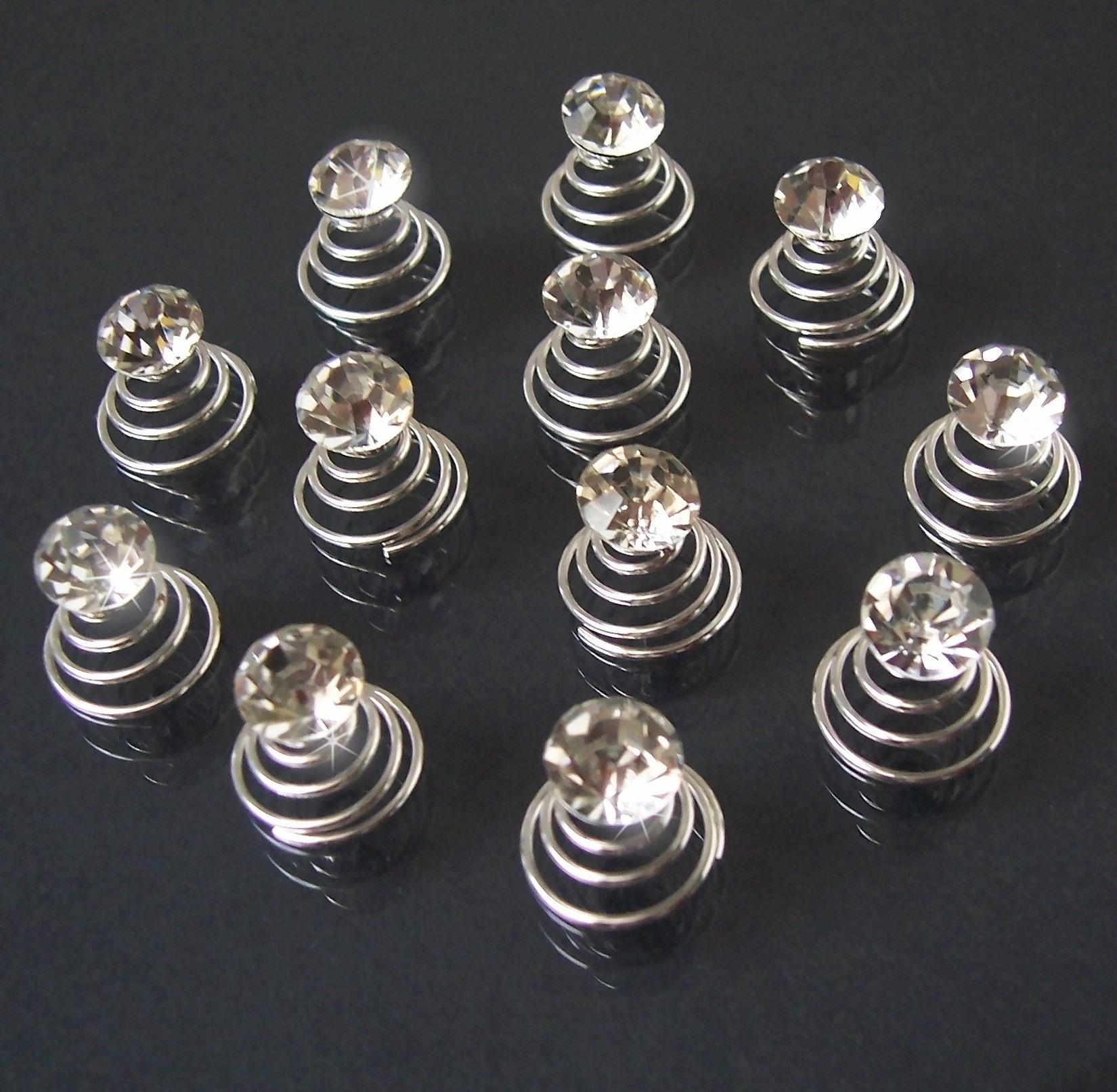 Curlies 12 Stück Strass klar 7mm Haarschmuck Brautschmuck Ball H2611