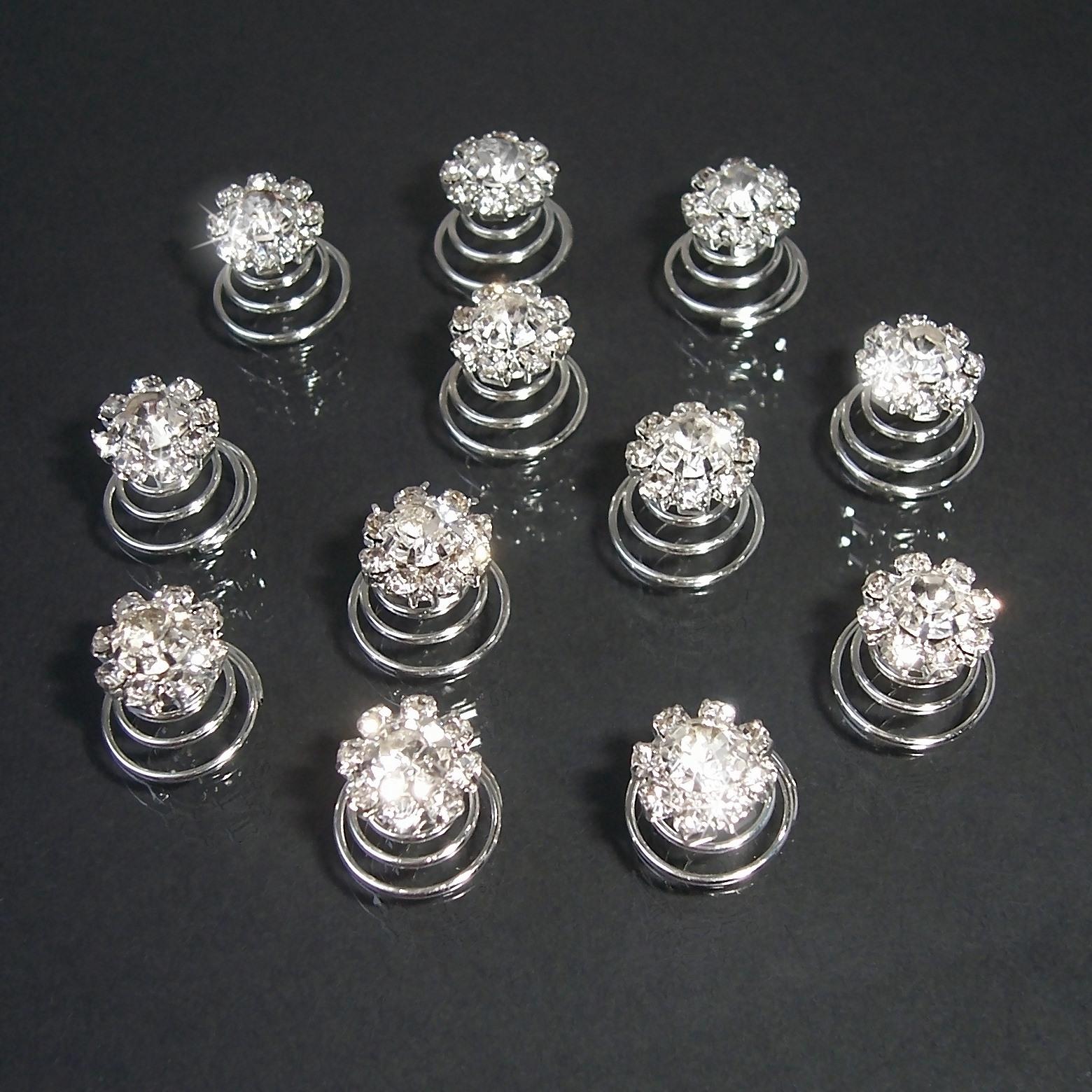Curlies 12 Stück Strass Blume Haarschmuck Brautschmuck Ball H601