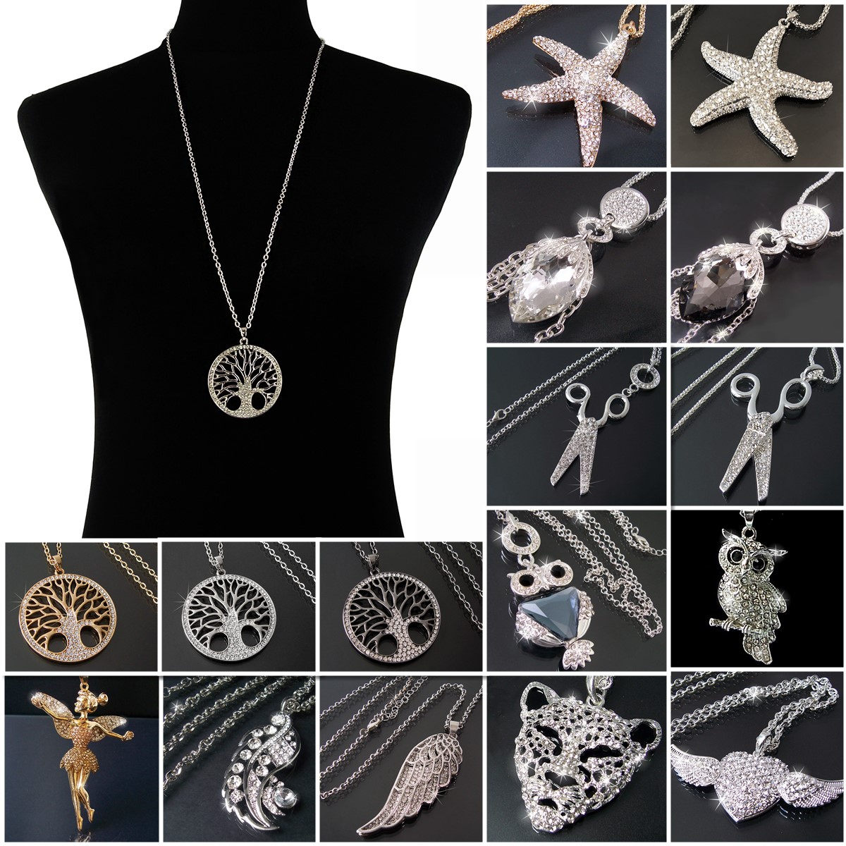 KV5* Lange Halskette Silber Gold mit Anhänger Strass Zirkonia Neu