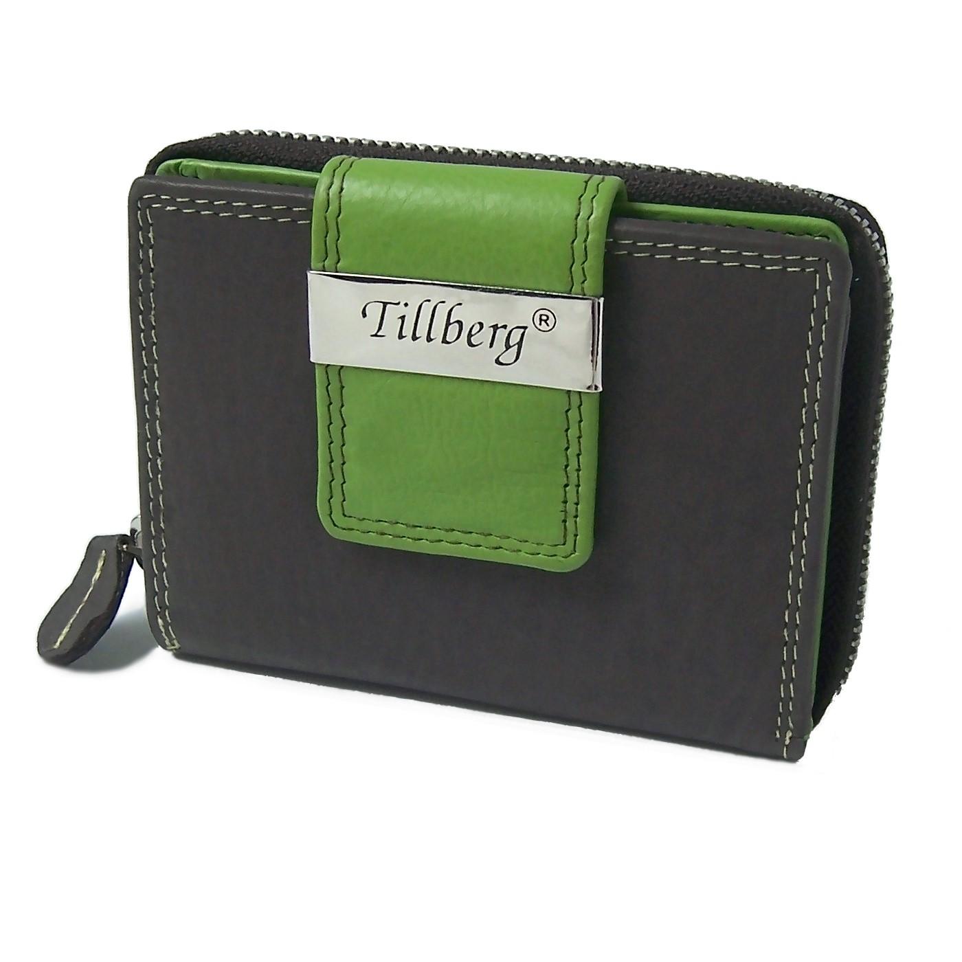 Damen Portemonnaie echt Leder Geldbörse braun grün Tillberg Po2228