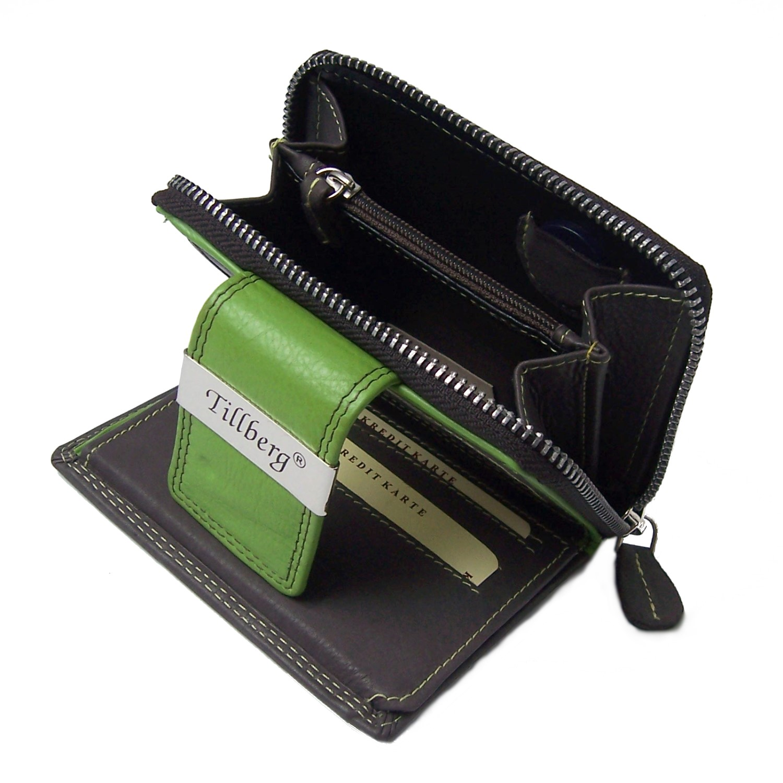 d07be4683b6c8 Damen Portemonnaie echt Leder Geldbörse braun grün Tillberg Po2228