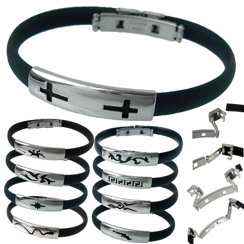 Surferarmband Edelstahl Armband Herrenarmband Kautschuk schwarz 21cm VA40